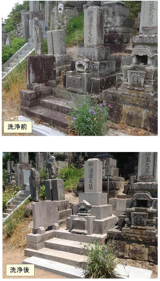 作業例1 墓石洗浄+表面強化剤塗布